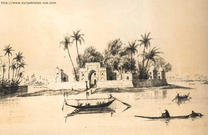 Shrine of Khwaja Khizr, near Bukkur Fort, 1838